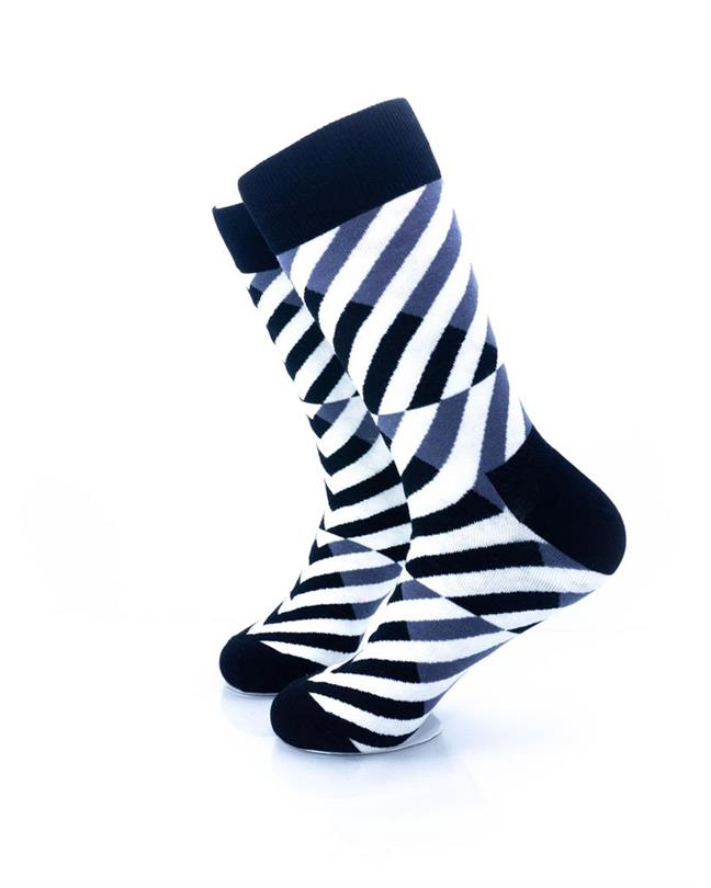 CoolDeSocks Black and White Diagonal Socks left view image