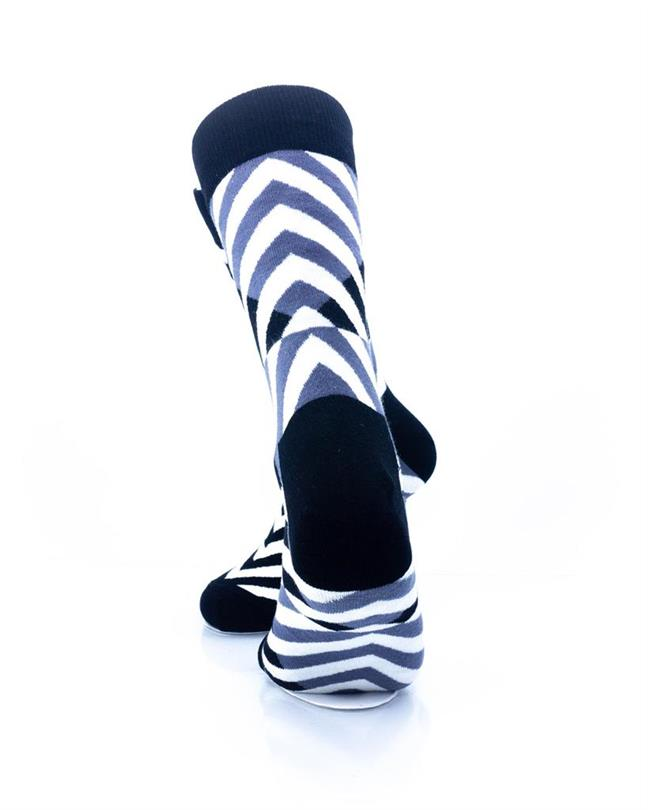 CoolDeSocks Black and White Diagonal Socks rear view image