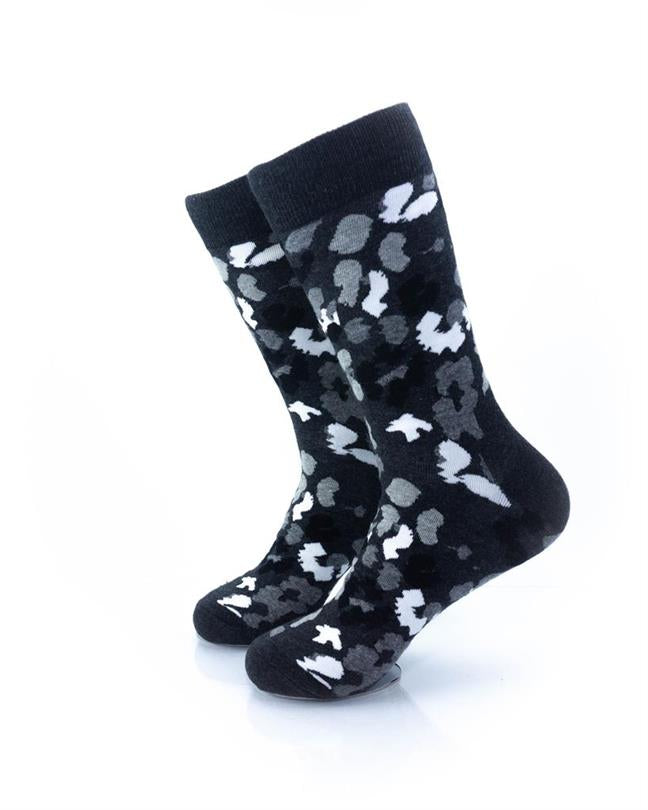 cooldesocks black and white petals crew socks left view