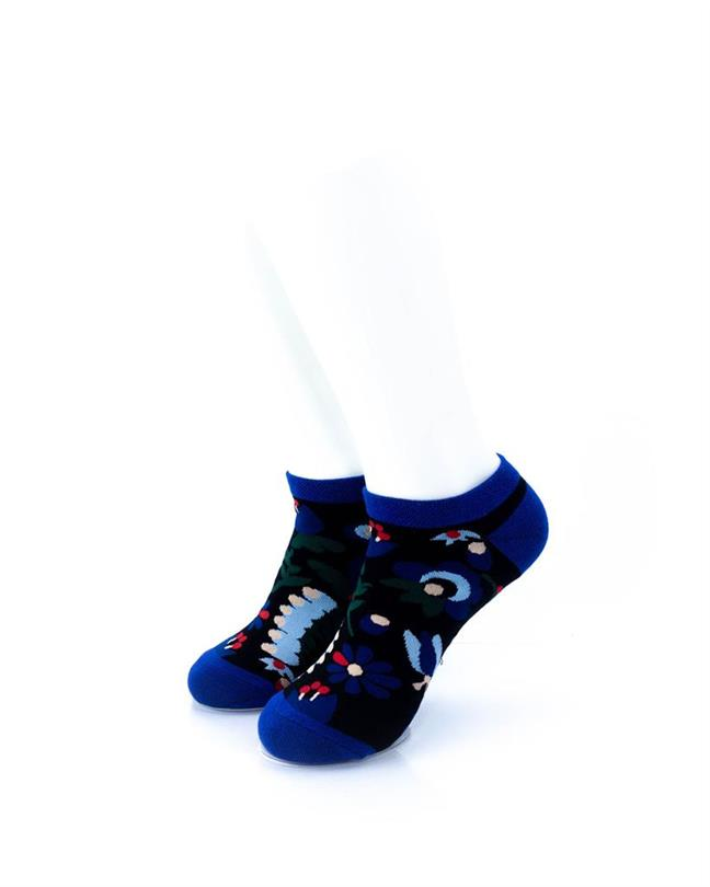 cooldesocks blue flowers ankle socks front view
