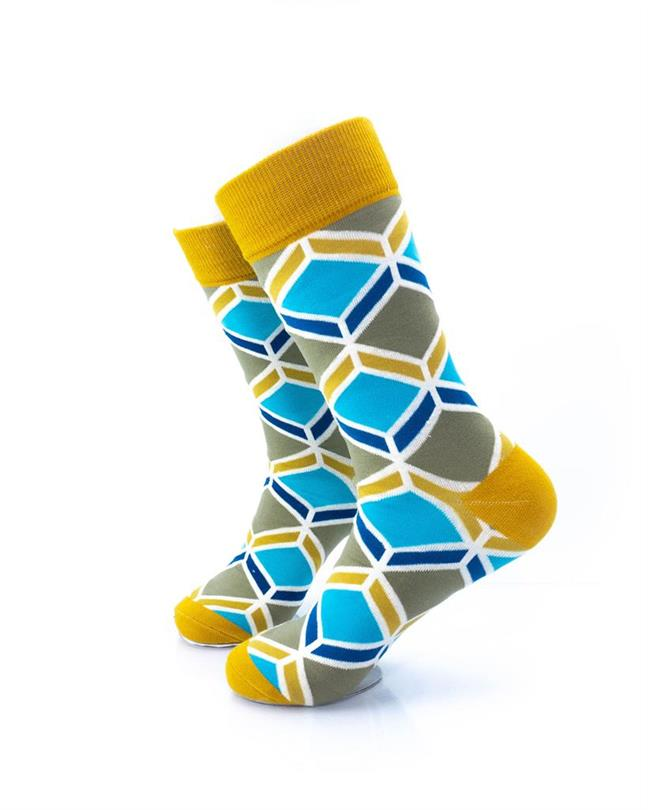 cooldesocks blue gold geometry crew socks left view