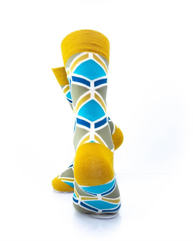 cooldesocks blue gold geometry crew socks rear view