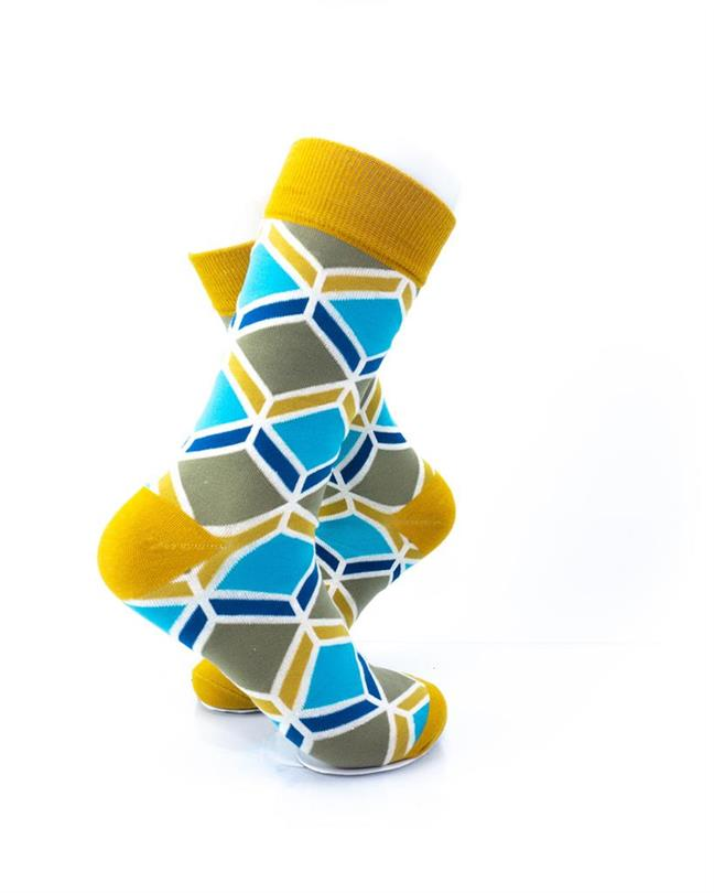 cooldesocks blue gold geometry crew socks right view