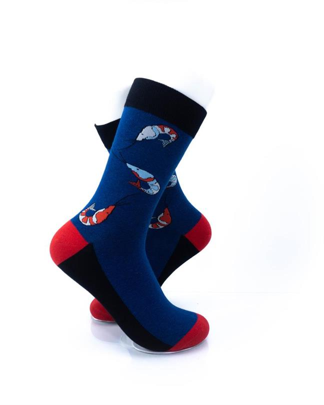 cooldesocks blue tiger shrimp crew socks right view