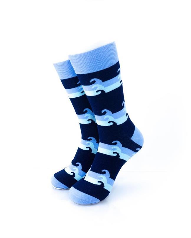 CoolDeSocks Blue Waves Socks front view image
