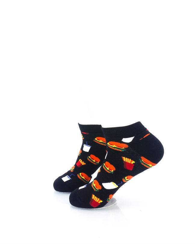 CoolDeSocks Burger Fries Black Ankle Socks left view image