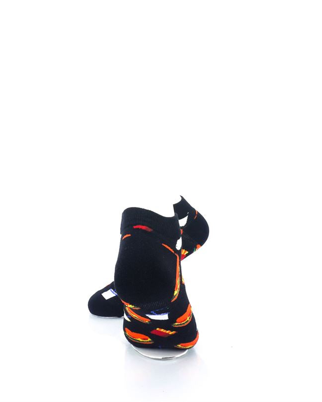 CoolDeSocks Burger Fries Black Ankle Socks rear view image