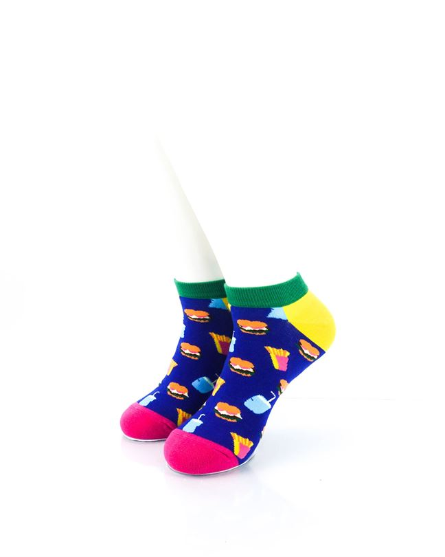 CoolDeSocks Burger Fries Colorful Ankle Socks front view image
