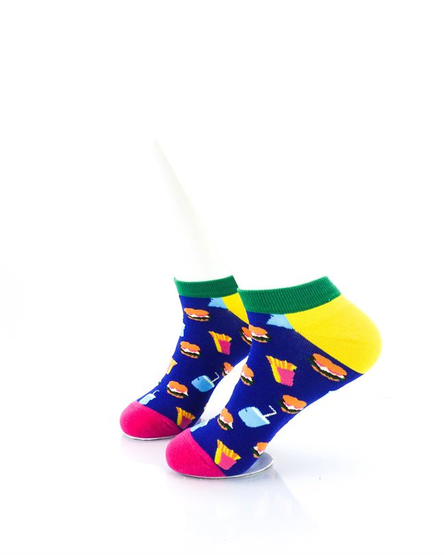 CoolDeSocks Burger Fries Colorful Ankle Socks left view image