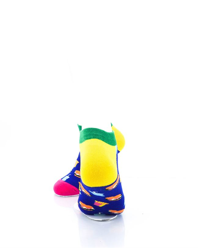 CoolDeSocks Burger Fries Colorful Ankle Socks rear view image