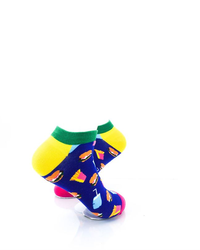 CoolDeSocks Burger Fries Colorful Ankle Socks right view image