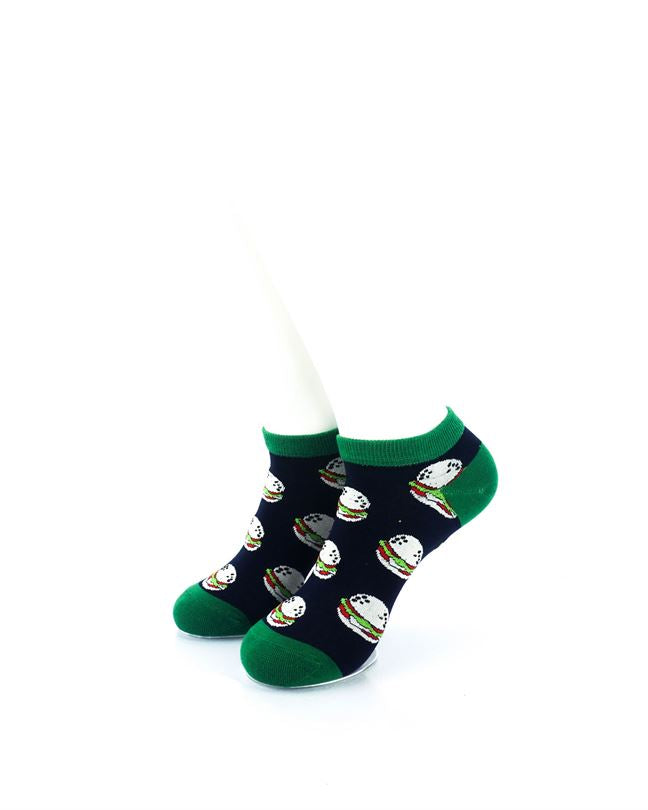 CoolDeSocks Burgers Green Liner Socks front view image