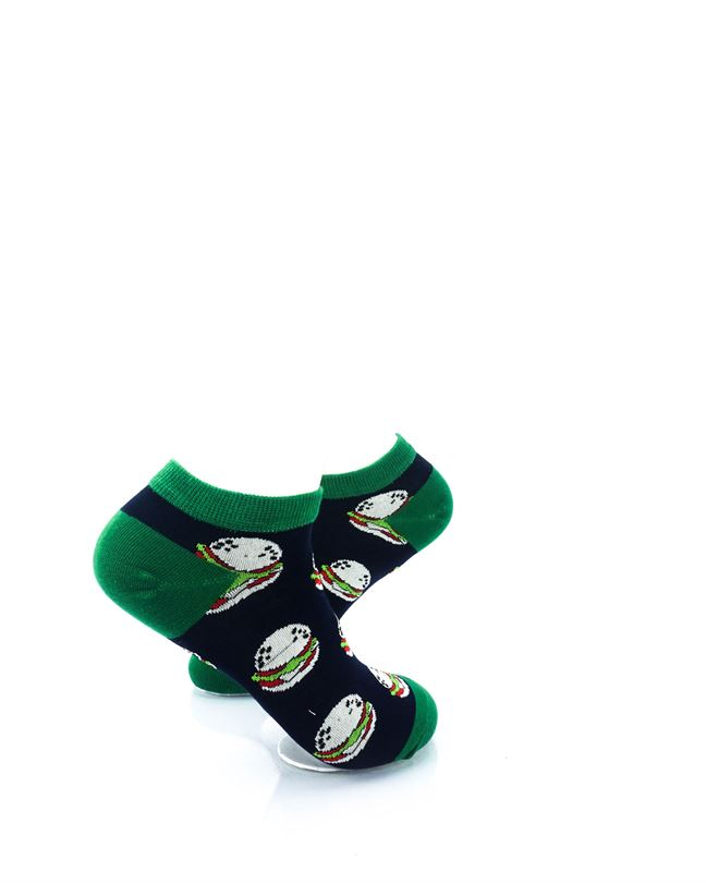 CoolDeSocks Burgers Green Liner Socks right view image