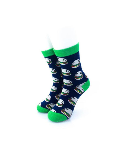 CoolDeSocks Burgers Green Socks front view image