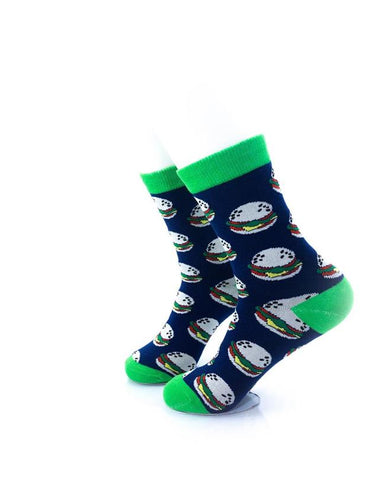 CoolDeSocks Burgers Green Socks left view image