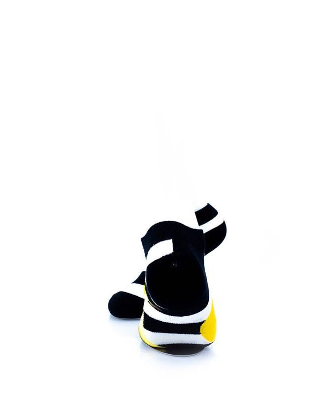 CoolDeSocks BW Stripe Banana Socks rear view image