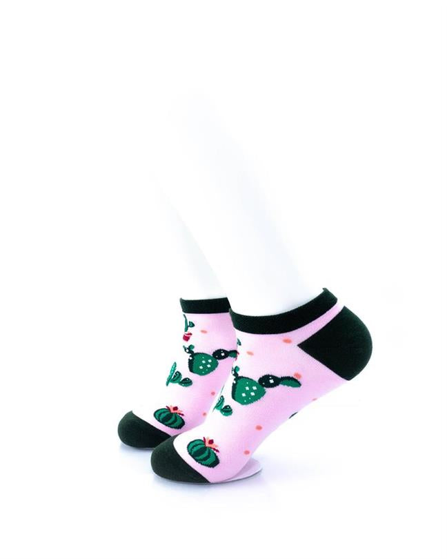 cooldesocks cactus in pink ankle socks left view