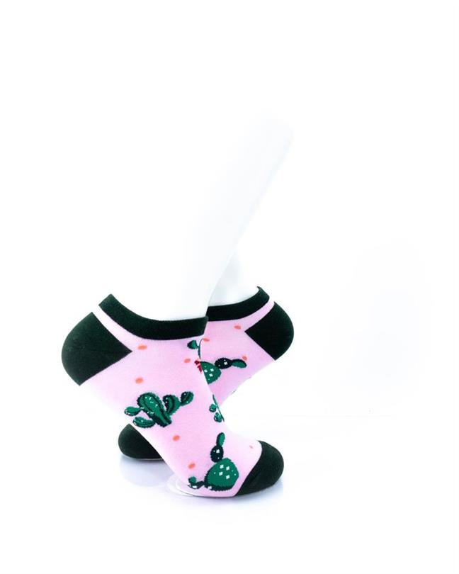 cooldesocks cactus in pink ankle socks right view