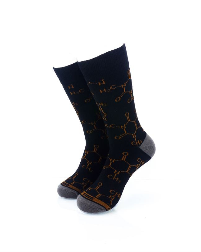 CoolDeSocks Caffeine Molecules Crew Socks front view image