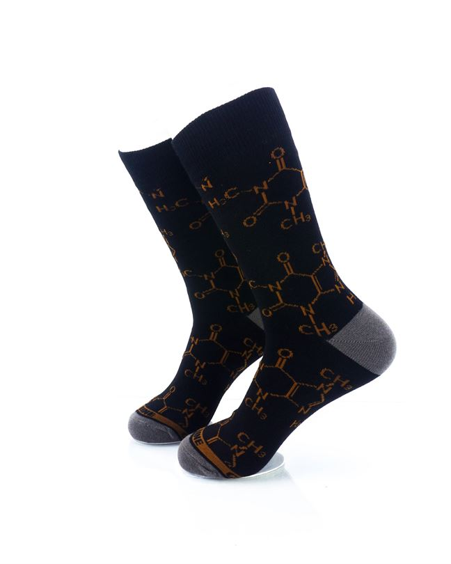 CoolDeSocks Caffeine Molecules Crew Socks left view image