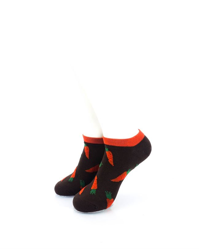 CoolDeSocks Carrots Brown Ankle Socks front view image