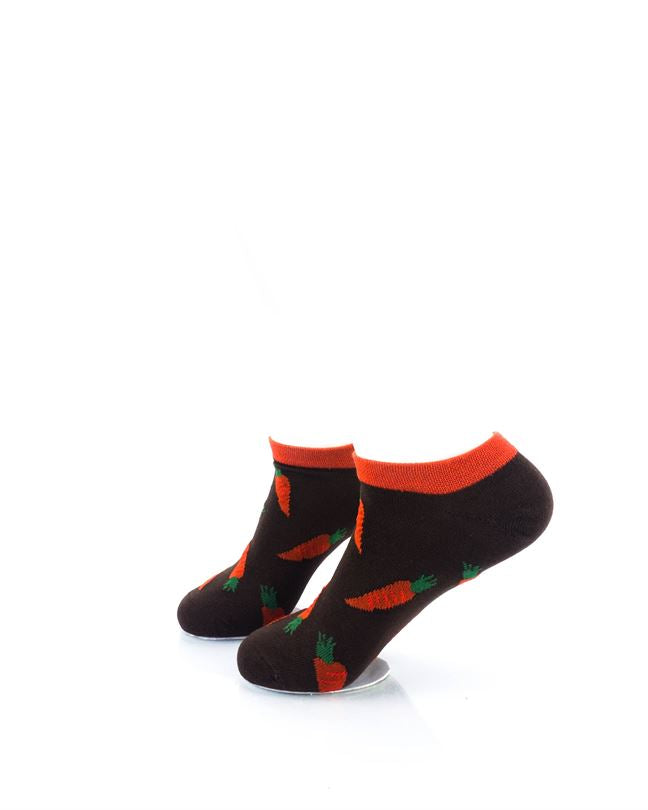 CoolDeSocks Carrots Brown Ankle Socks left view image