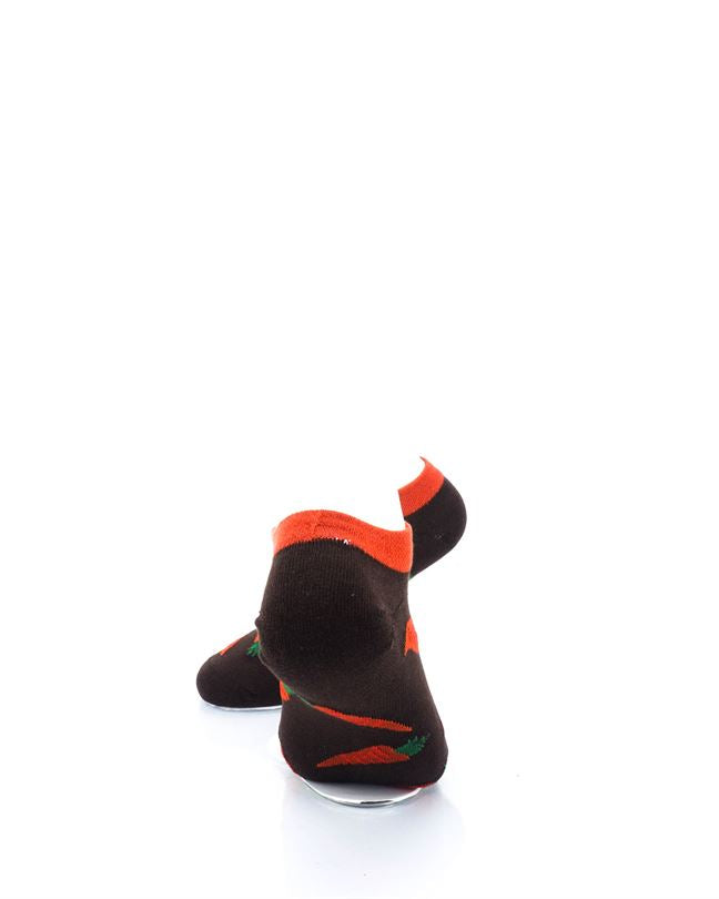 CoolDeSocks Carrots Brown Ankle Socks rear view image