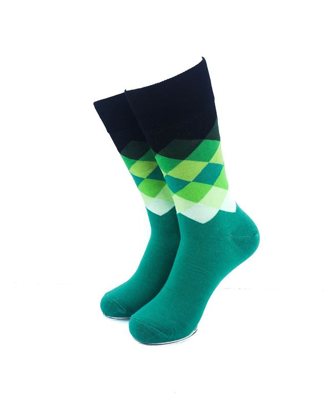 CoolDeSocks Checkered Aqua Socks front view image