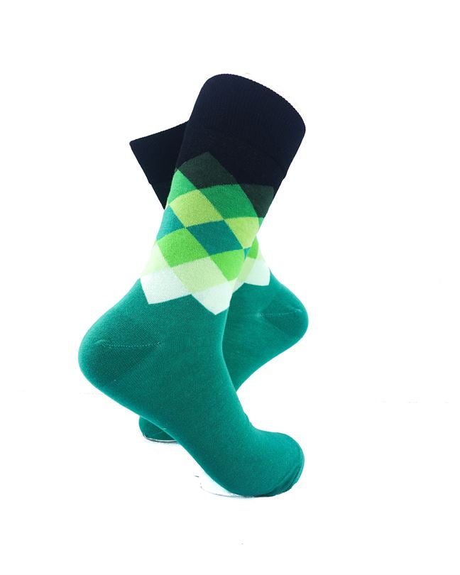 CoolDeSocks Checkered Aqua Socks right view image