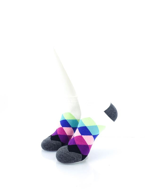 CoolDeSocks Checkered Blue Purple Ankle Socks front view image