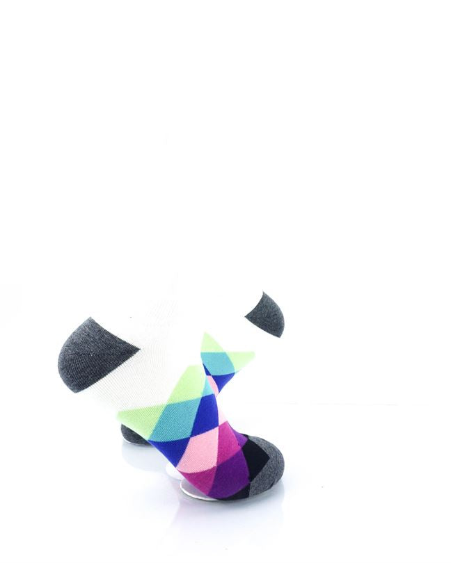 CoolDeSocks Checkered Blue Purple Ankle Socks right view image