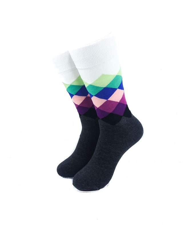 CoolDeSocks Checkered - Blue Purple Socks front view image