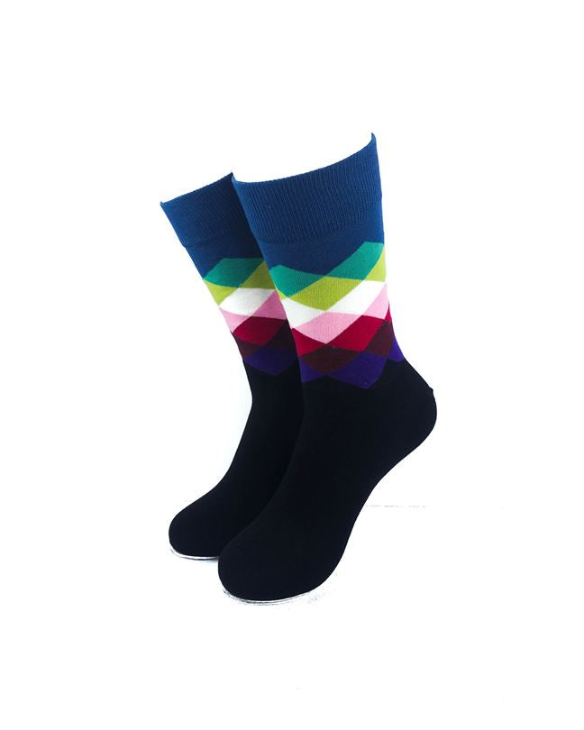 cooldesocks checkered classic blue crew socks front view