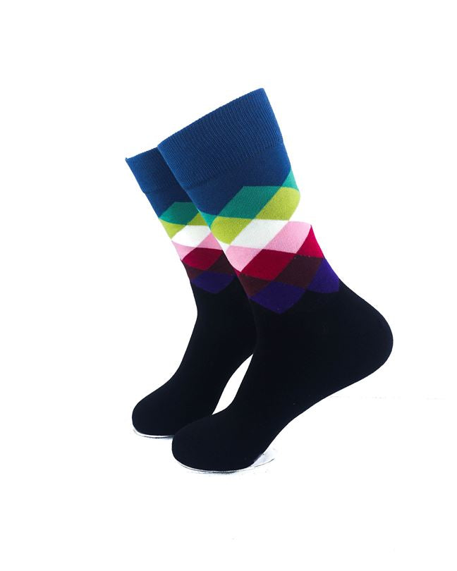 cooldesocks checkered classic blue crew socks left view