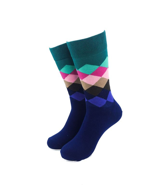 CoolDeSocks Checkered Green Socks front view image