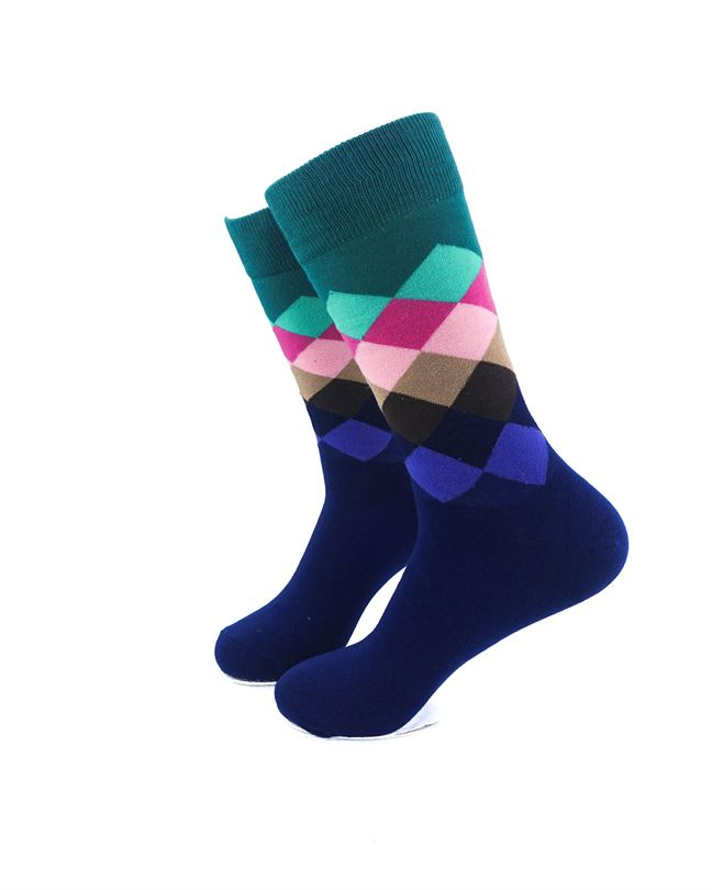 CoolDeSocks Checkered Green Socks left view image