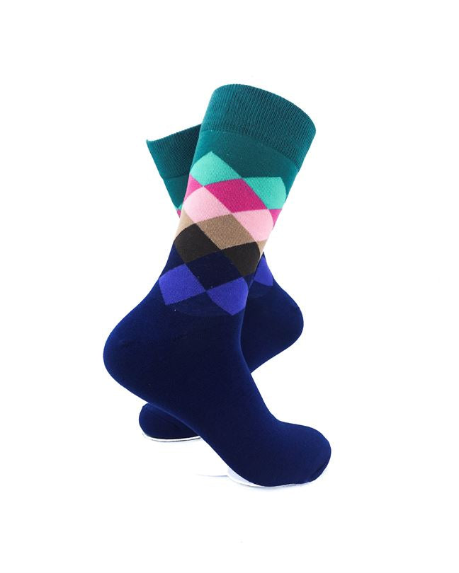 CoolDeSocks Checkered Green Socks right view image