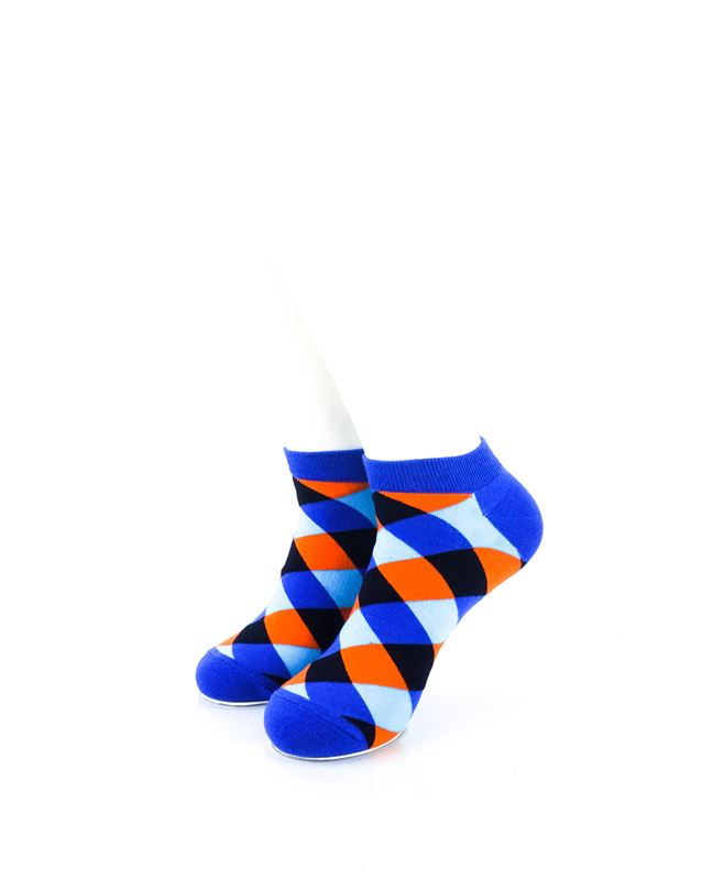 CoolDeSocks Checkered Neo Blue Ankle Socks front view image
