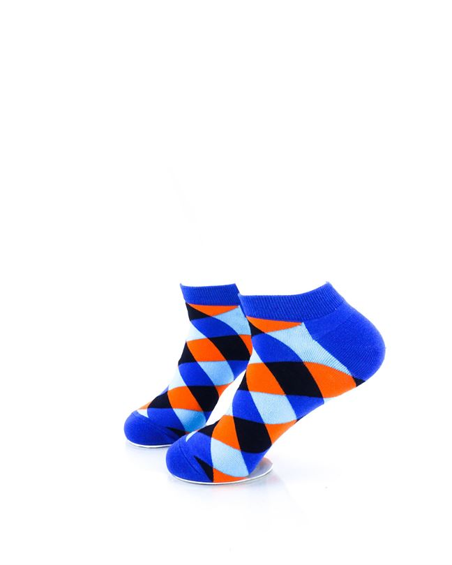 CoolDeSocks Checkered Neo Blue Ankle Socks left view image