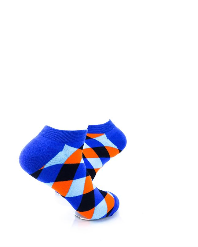 CoolDeSocks Checkered Neo Blue Ankle Socks right view image