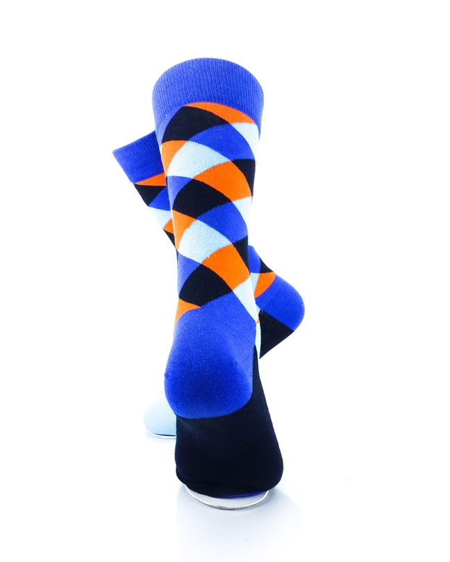 cooldesocks checkered neo blue crew socks rear view