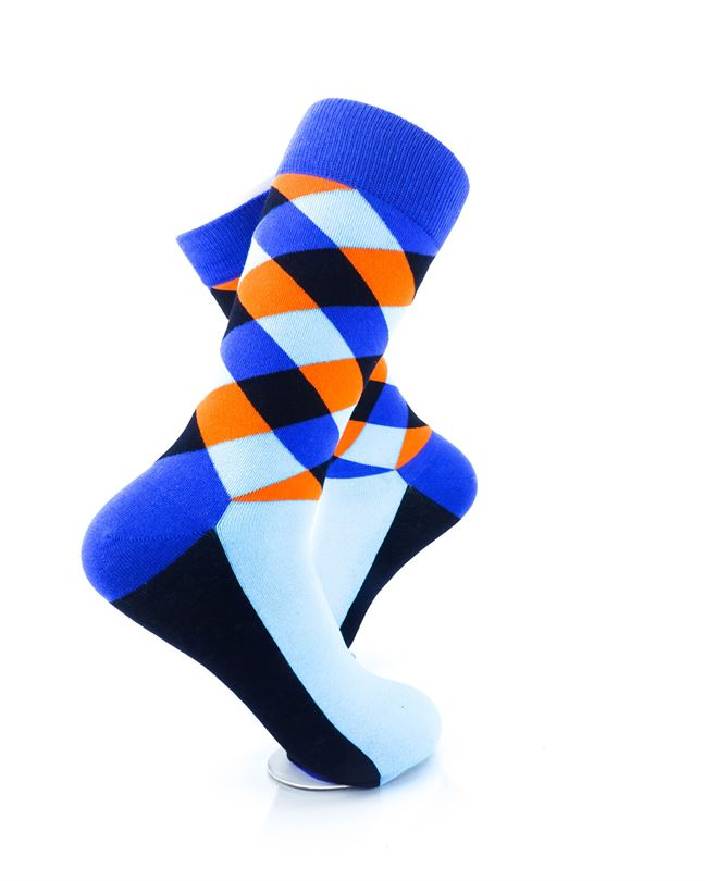 cooldesocks checkered neo blue crew socks right view