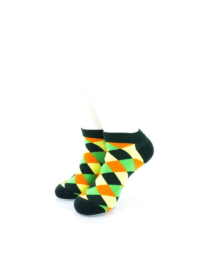 CoolDeSocks Checkered Neo Green Ankle Socks front view image