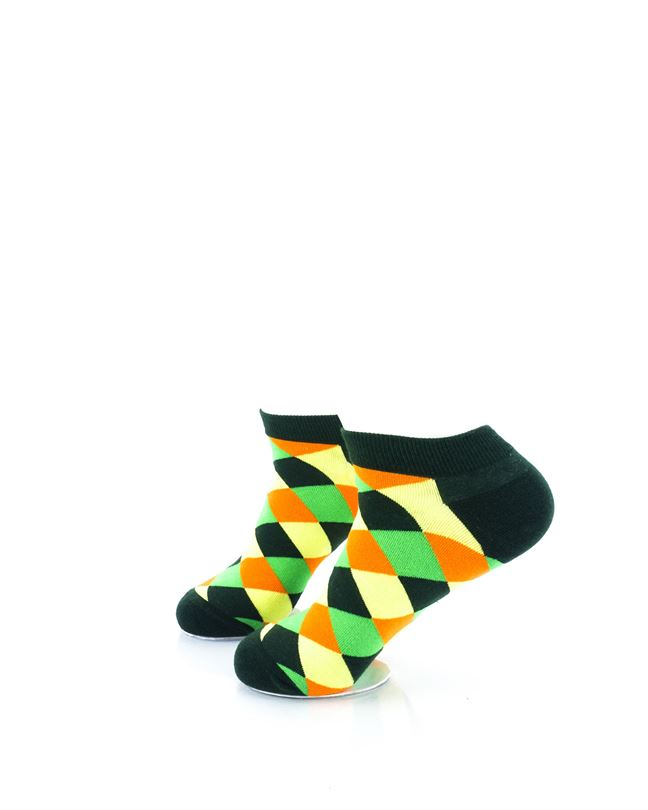 CoolDeSocks Checkered Neo Green Ankle Socks left view image