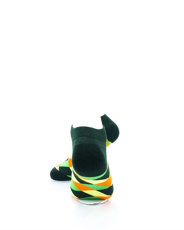 CoolDeSocks Checkered Neo Green Ankle Socks rear view image