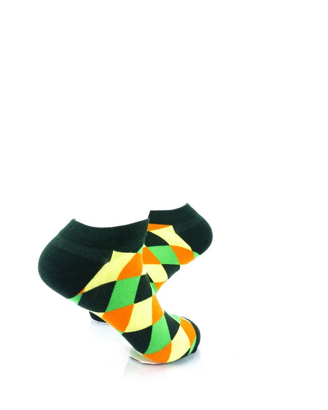 CoolDeSocks Checkered Neo Green Ankle Socks right view image