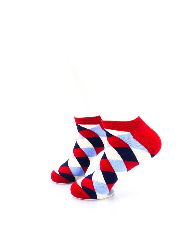 CoolDeSocks Checkered Neo Red Ankle Socks left view image