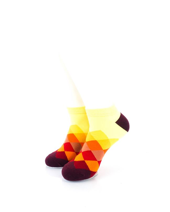 CoolDeSocks Checkered Orange Ankle Socks front view image