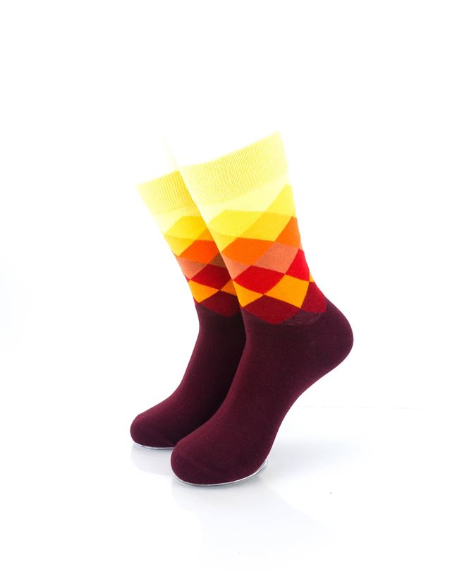 CoolDeSocks Checkered Orange Crew Socks front view image