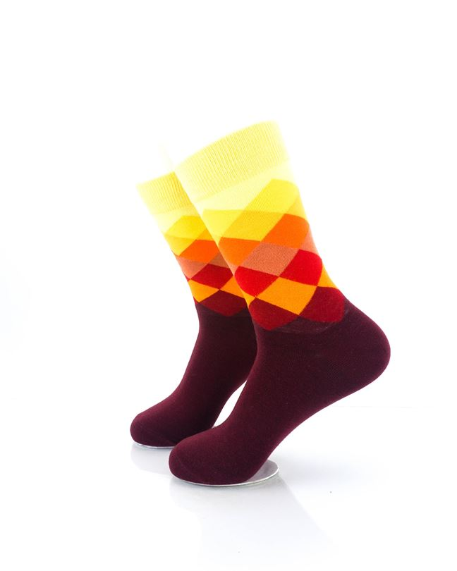 CoolDeSocks Checkered Orange Crew Socks left view image